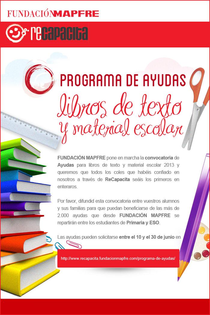 Concocatoria de ayudas para libros de texto y material escolar