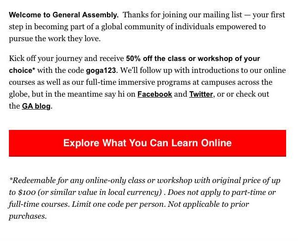 Seis buenos ejemplos de mensajes de bienvenida. General Assembly